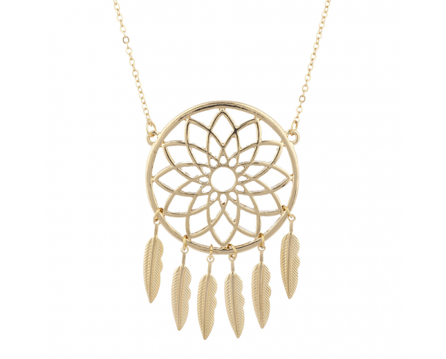 Goldtone dreamcatcher Casted Feathers Boho Necklaces For Women