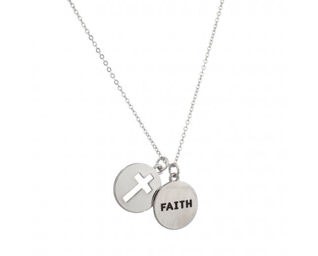 Faith Cutout Cross Jesus Christ Inspiration Pendant Necklace.
