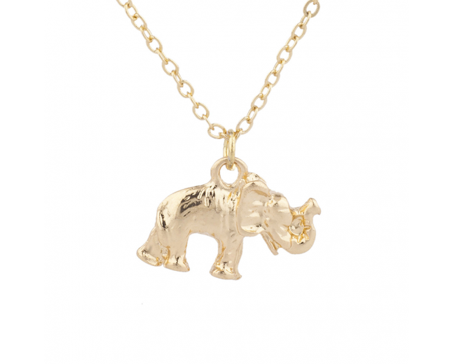 Gold Tone Elephant Good Luck Boho Dainty Charm Pendant Necklace