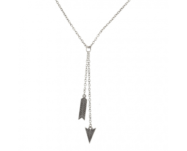 Boho Burnished Silver Arrow and Spike Lariat Sexy-Y Necklace
