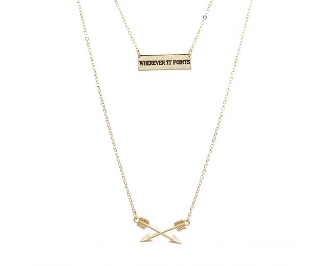 Gold Tone Wherever it Points Double Row Inspirational Necklace