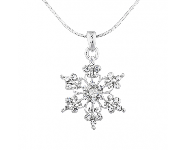 SilverTone Christmas Holiday Snowflake Charm Pendant Necklace