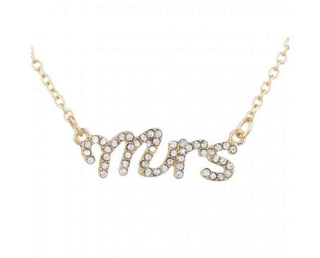 Gold Tone Crystal Rhinestone Mrs. Wife Wedding Gift Necklace