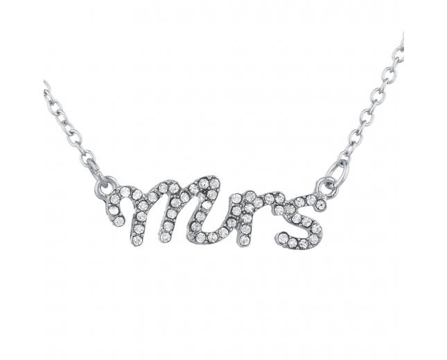 Silver Tone Crystal Rhinestone Mrs. Wife Wedding Gift Necklace