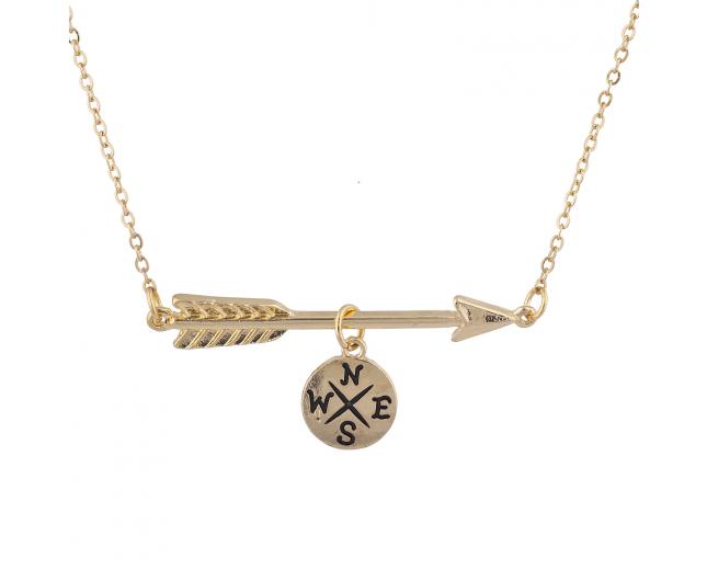 Gold Tone Compass Arrow Direction Travel Charm Pendant Necklace