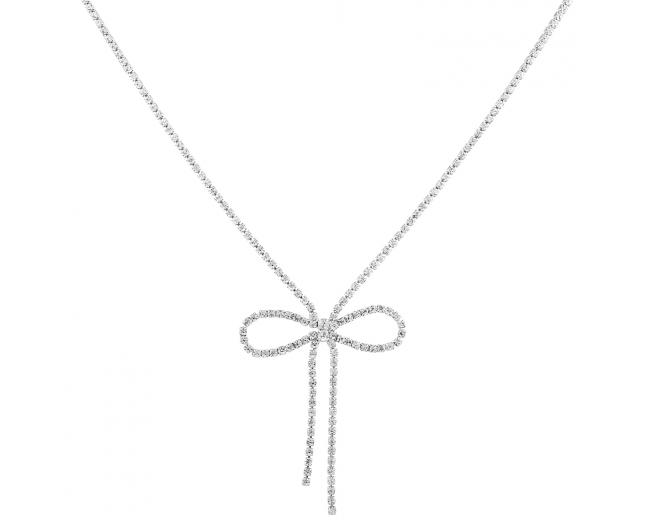 Silver Tone Bridal Wedding Bow Rhinestone Bolero Style Necklace