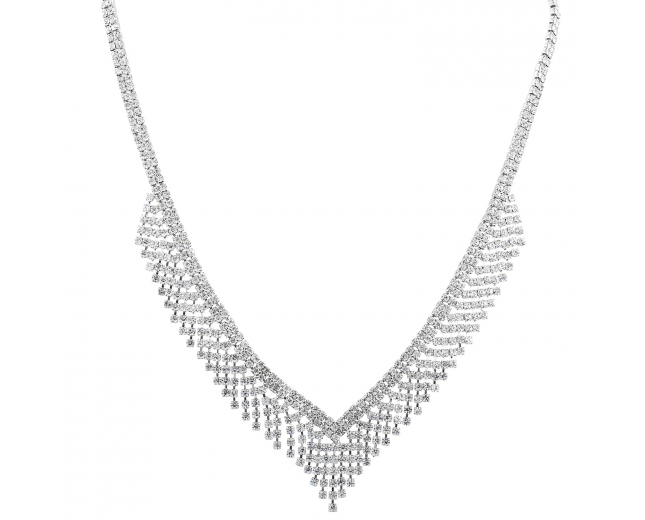 Silvertone Bridal Wedding Walterfall Crystal Statement Necklace