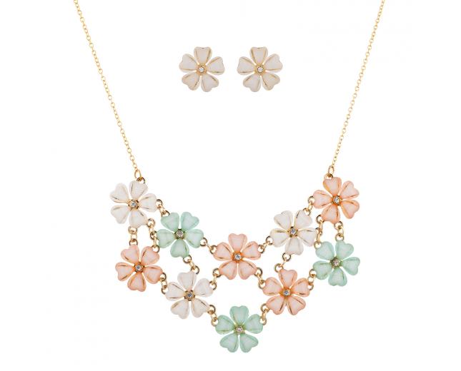 Multicolor Acrylic Flower Mini Statement Necklace Ring Set 2PC