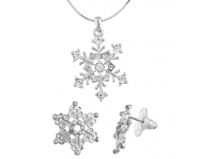 Silver Tone Christmas Holiday Snowflake Earring Necklace Set 2PC