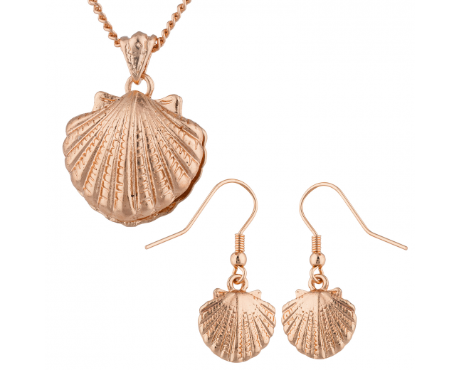 Rose Gold Tone Seashell Pendant Necklace and Earrings Set 2PC