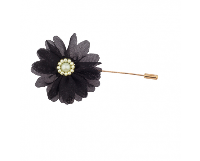 Fabric Black Flower Floral Pin Brooch Broach