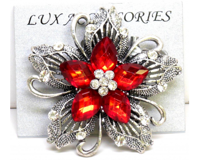 Heirloom Floral Stone Brooch
