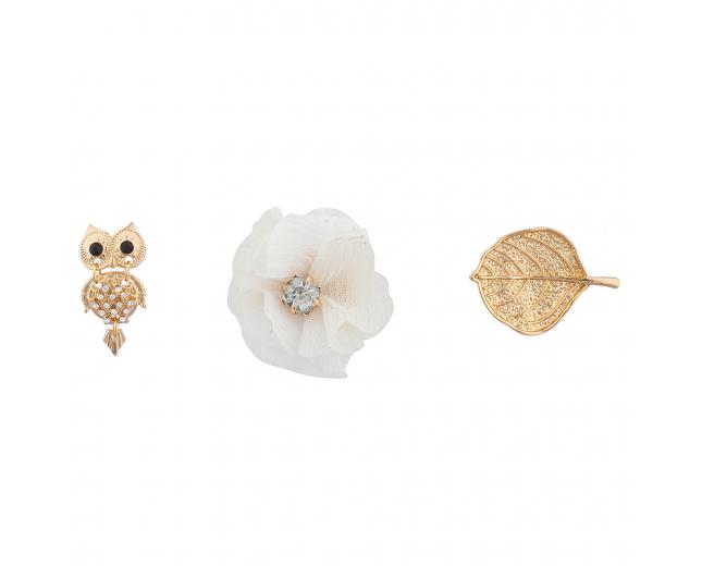 "Goldtone ""Owls"" Pin Set (3PC)"