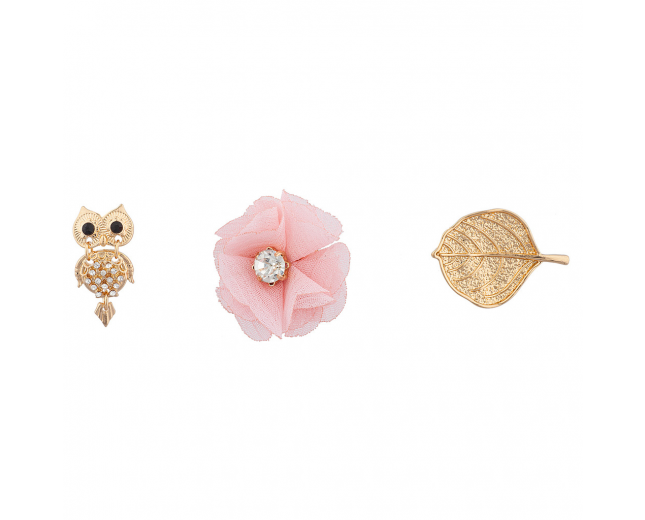 "Goldtone ""Owls"" Pin Set (3PC)"