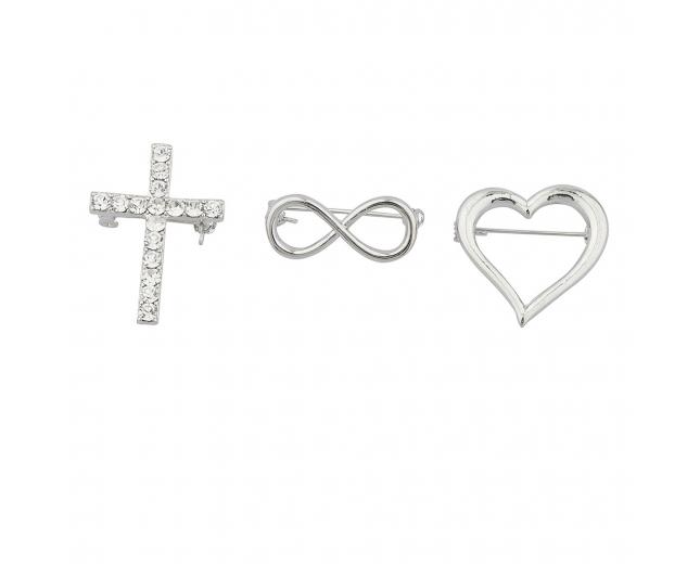 """Silvertone """"Infinite love"""" Pin Set (3PC)"""