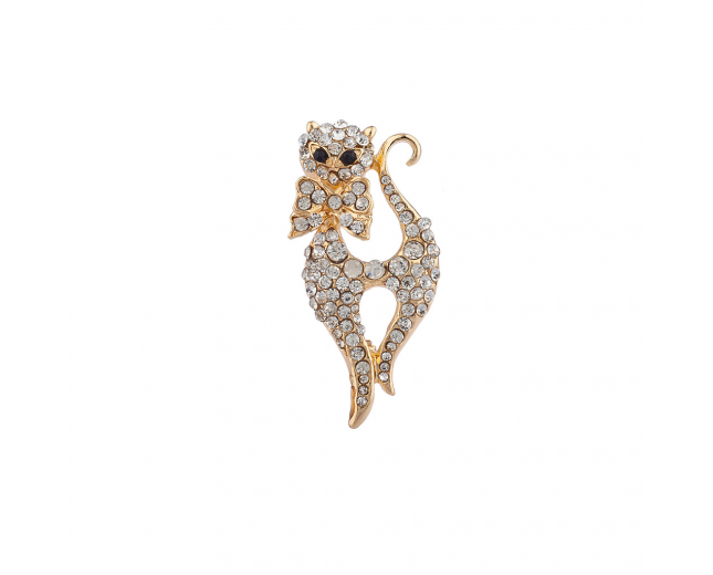 Goldtone Bling Cat Meow Brooch Pin