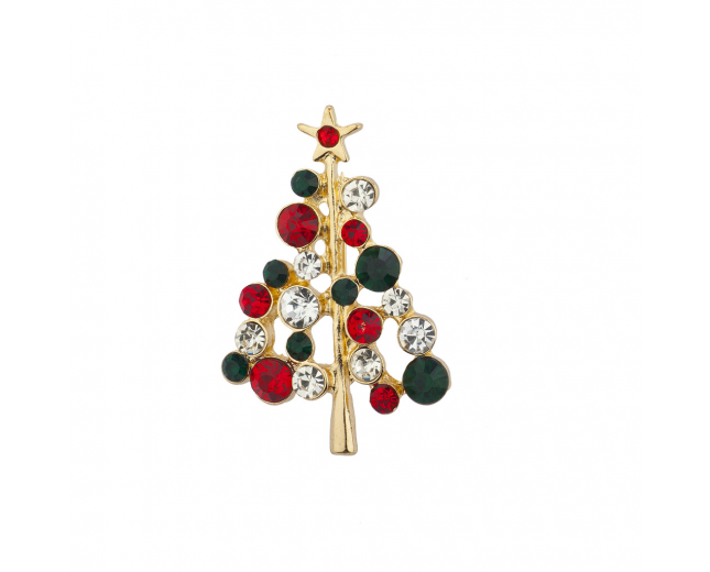 Holiday Red Green Crystal Rhinestone Christmas Tree Brooch Pin