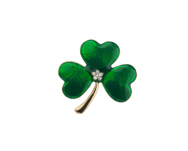 Gold tone Green St. Patrick's Day Three Leaf Clover Brooch Pin