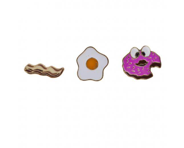 Breakfast Bacon Eggs Donut Enamel Pin Brooch Set(3pc)
