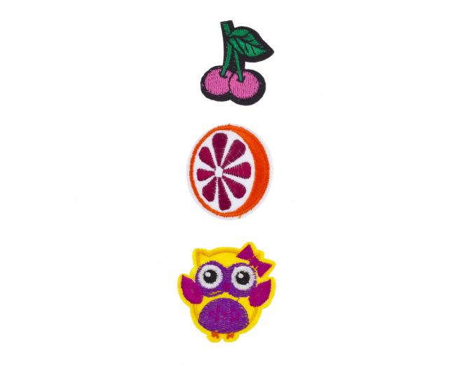 Cherry, Orange and Owl Novelty Iron Patches Set (3PCS)