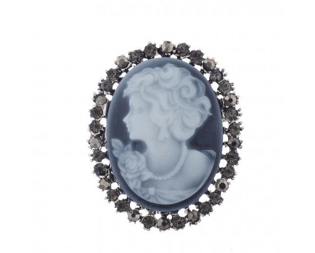 Antique Vintage Blue Cameo Brooch Burnished Silver paver Stones