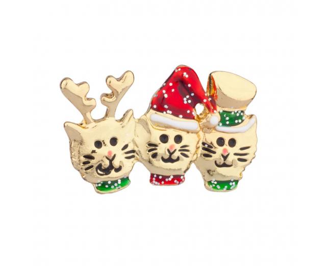 Cat In Hat Reindeer Xmas Christmas Brooch Pin
