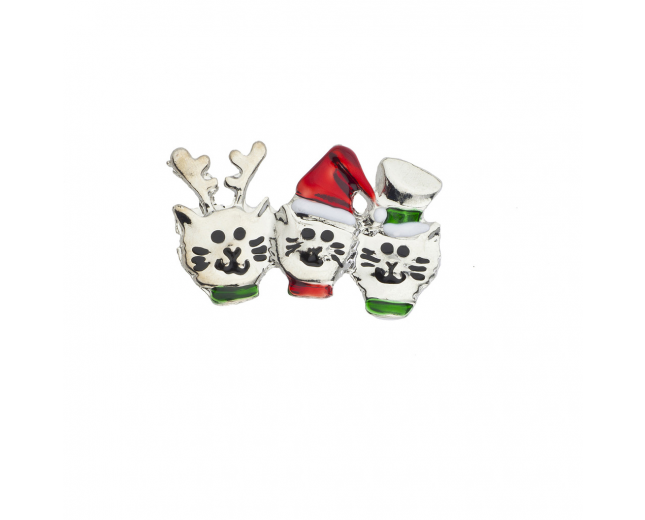 Holiday Christmas Xmas Three Cats in a Hat Reindeer Brooch Pin