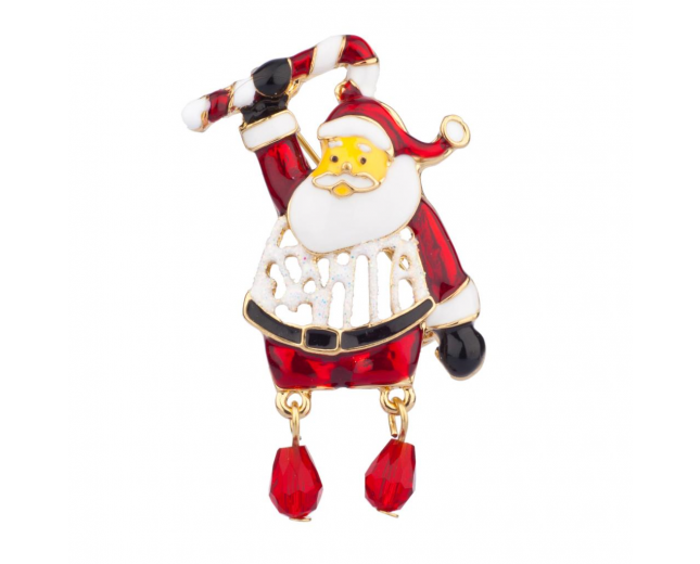 Santa Claus Candy Cane Jingle Balls Dangle Brooch Pin Xmas Christmas