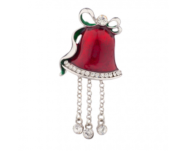 Christmas Church Bell Pin Brooch Red Dangly Rhinestones