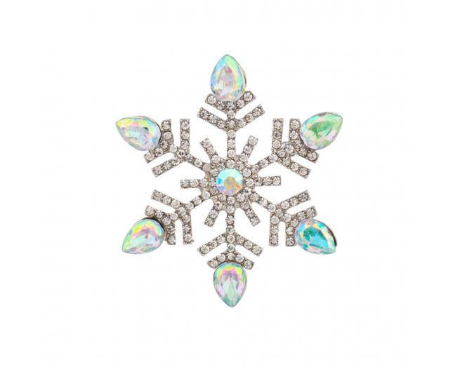 Pave Snowflake Brooch Pin Xmas Christmas