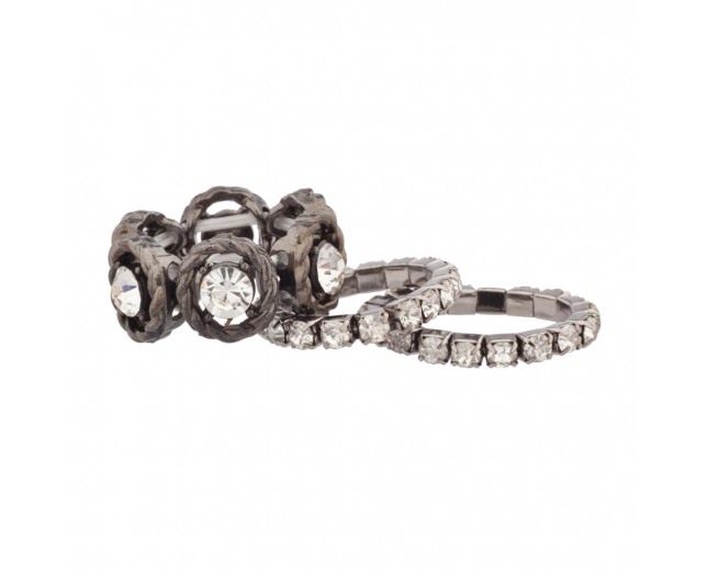 3 Band Rhinestone Stretch Ring Set (3 PC)