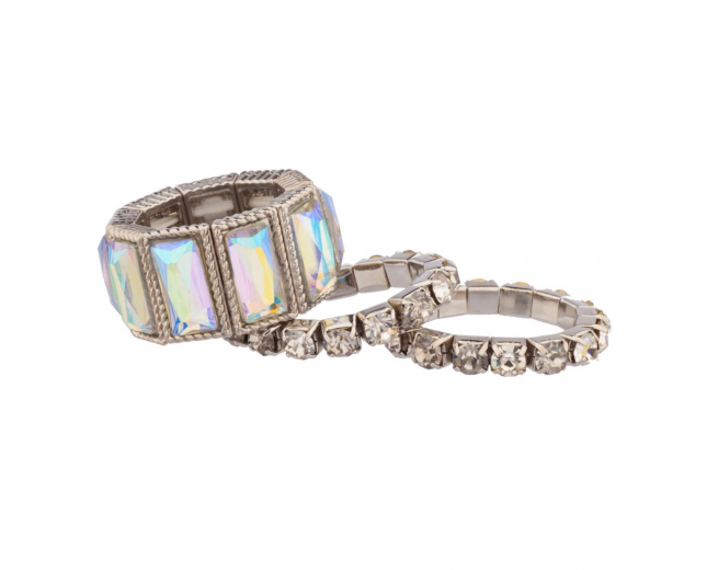 Clear Stone Pave Stretch Ring Set (3 PC)
