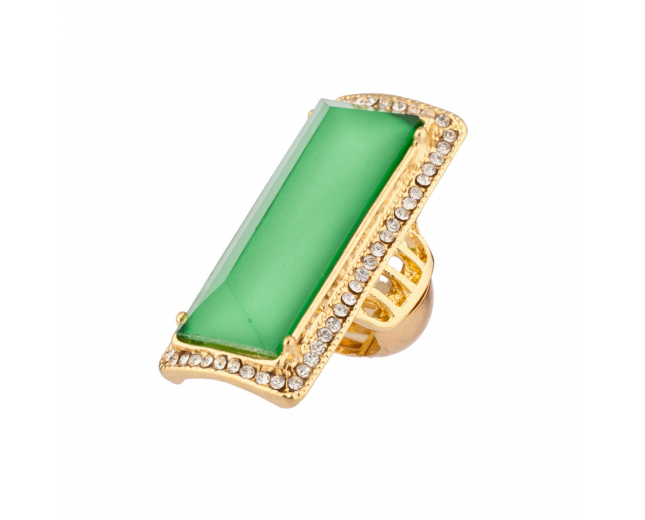 Lime Green Pave Crystal Cocktail Stretch Ring