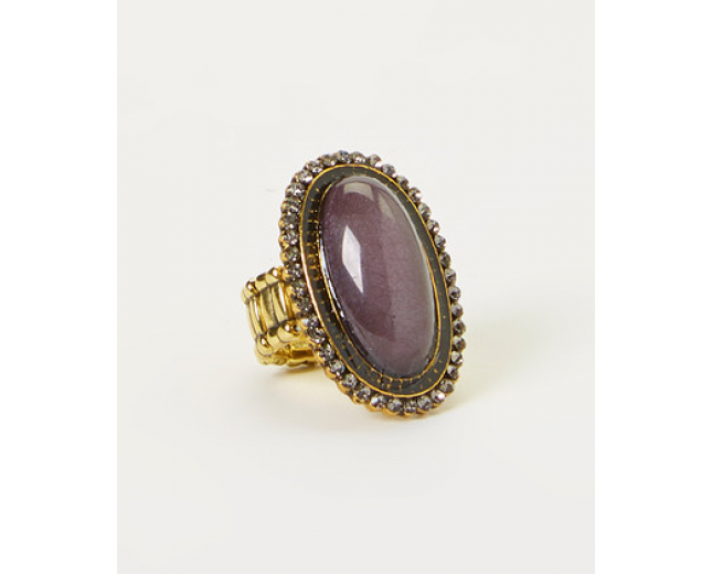 Gray Oval Stretch Ring