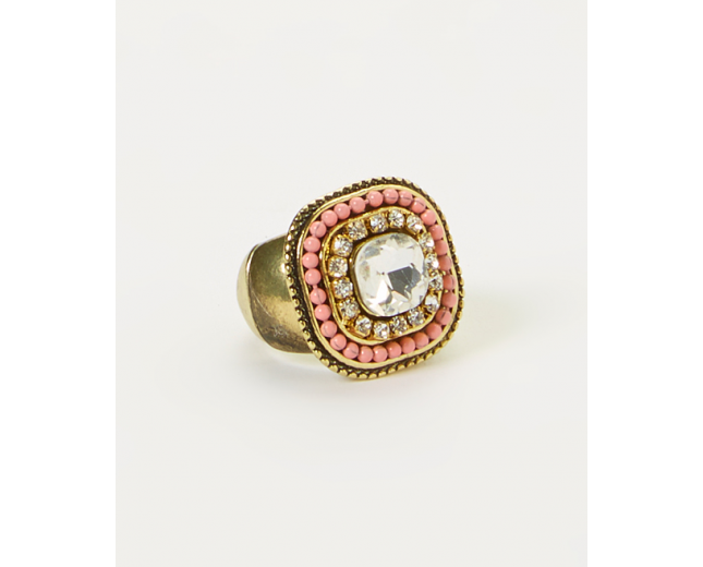 Coral Square Stretch Ring
