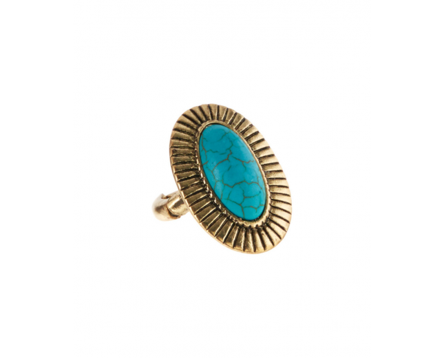 Turquoise & Burnished Goldtone Ribbed-Frame Stretch Ring