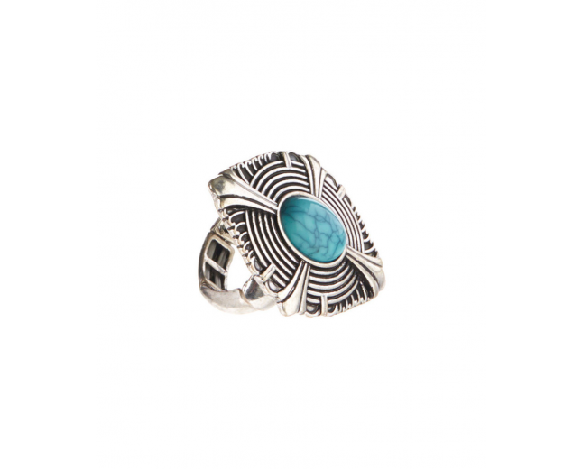 Burnished Silvertone & Turquoise Ribbed Stretch Ring