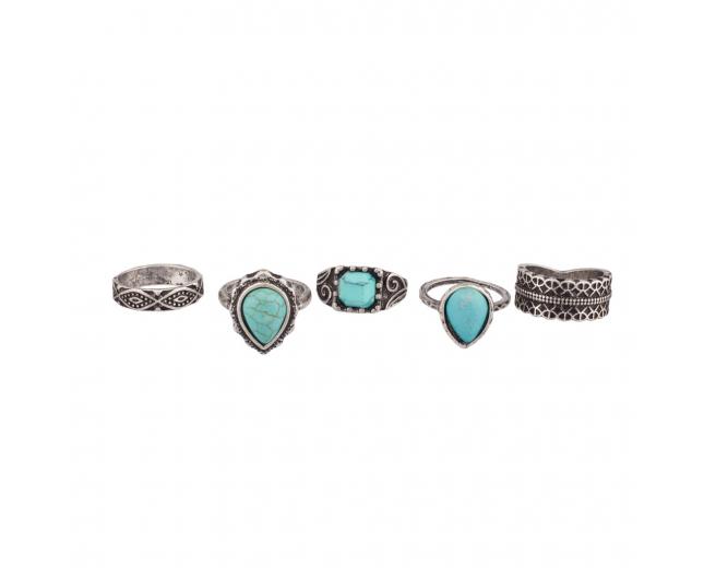 Turquoise Stone Tribal Ring Set