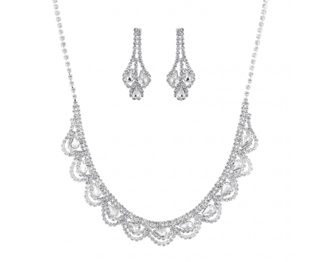 Silver Tone Faux Rhinestone Statement Special Occasion Set 2PC