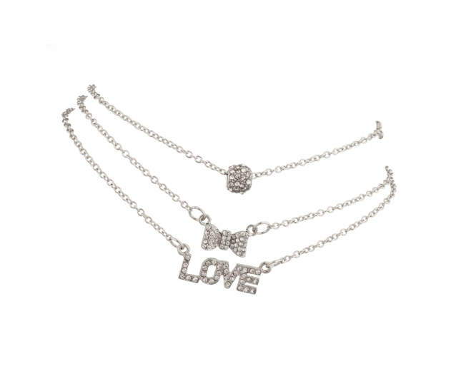 Pave Crystal LOVE Bow BFF Best Friends Forever Anklet Set (3 PC)