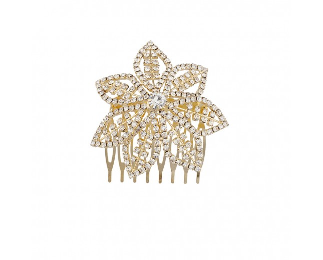 Goldtone and Pave Bling Flower Bride Bridal Metal Hair comb