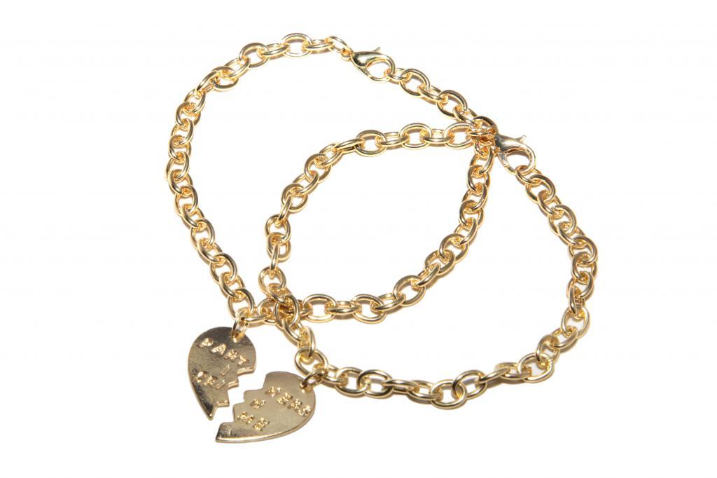 Partners In Crime Bff Best Friends Heart Charm Bracelets 2 Pc