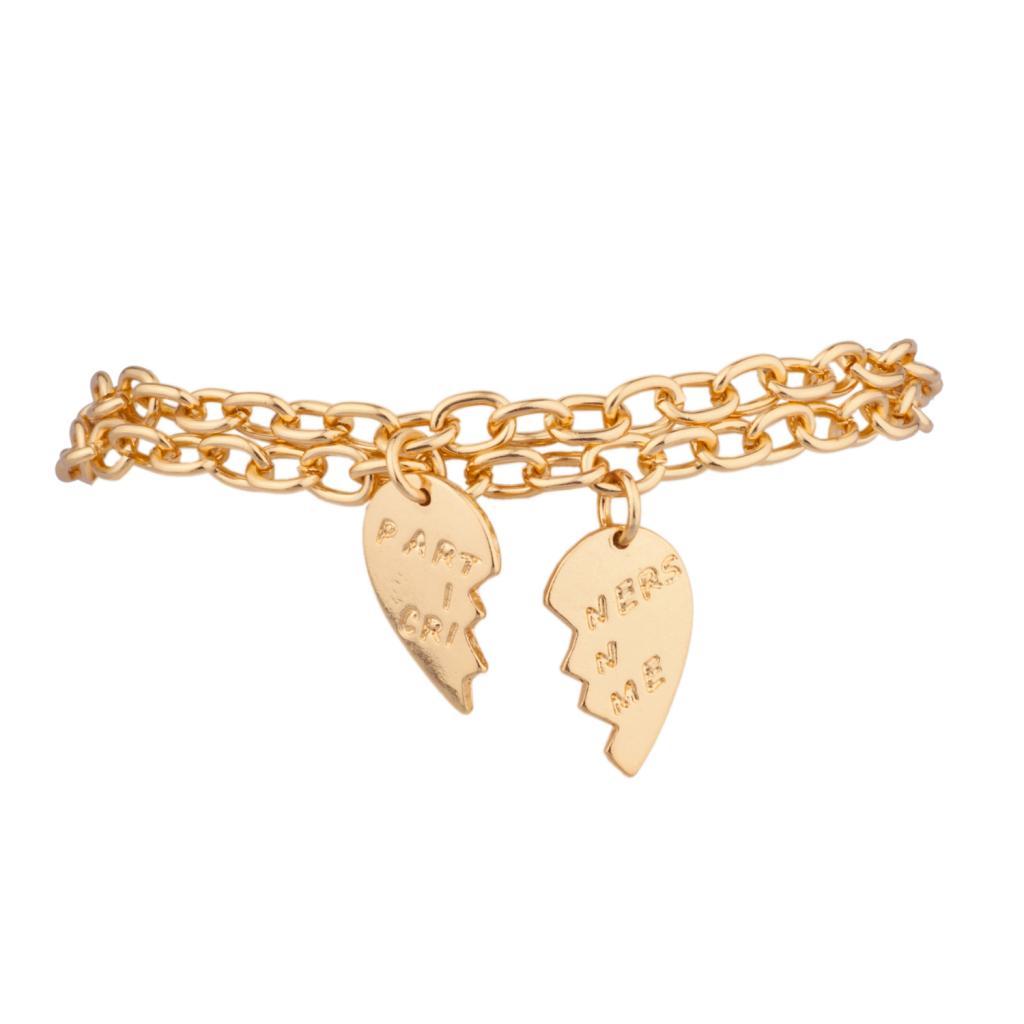 Best Charm Bracelet: Partners In Crime BFF Best Friends Heart Charm Bracelets