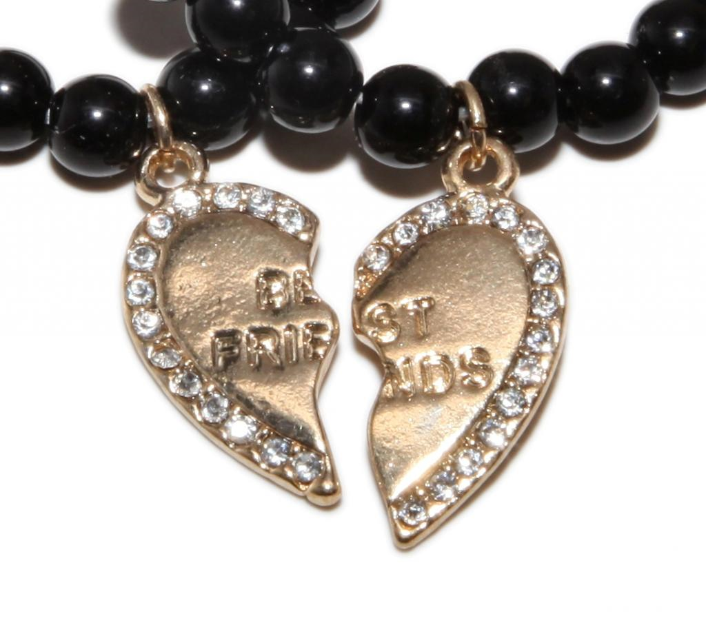 Best Charm Bracelet: Gold Best Friends BFF Black Beaded Stretch Heart Charm