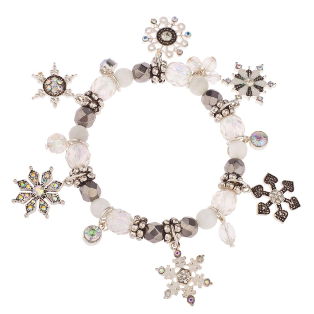 Snowflake Charm Bracelet: Snowflake Christmas Xmas Snow Flake Braded Charm Bracelet