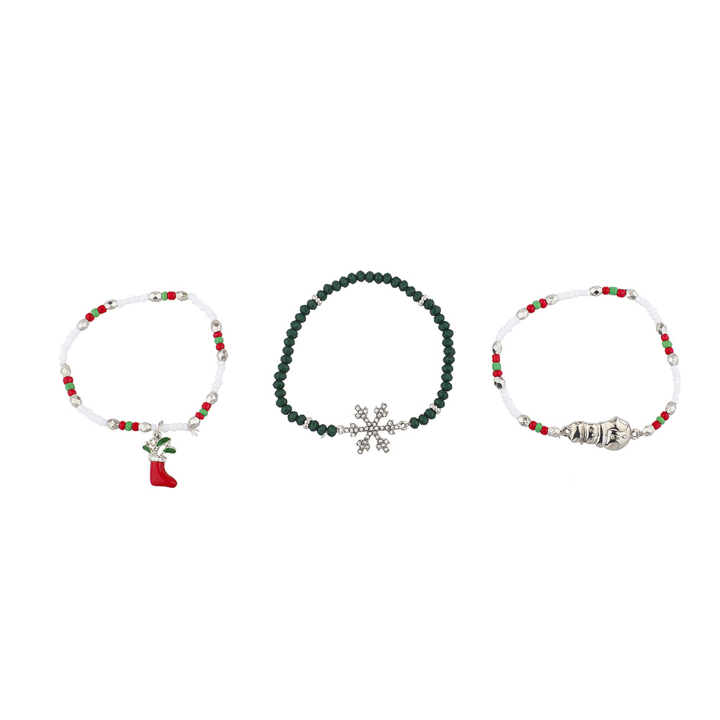 Lux Accessories Silver Tone Christmas XMas Holiday Arm Candy Bracelet Set 3PC