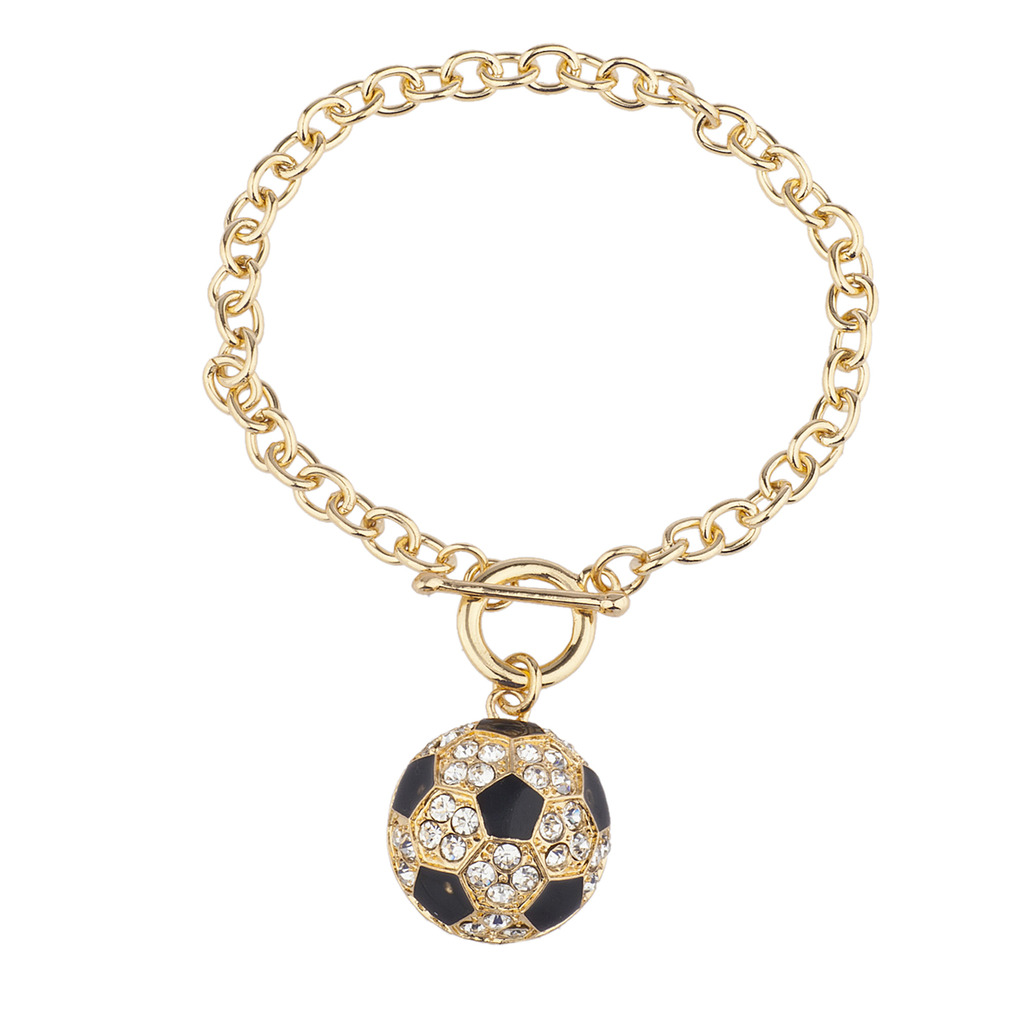 Lux Accessories Goldtone Rhinestone Soccer Sports Soccer Ball Charm Bracelet UDNDQIMH2