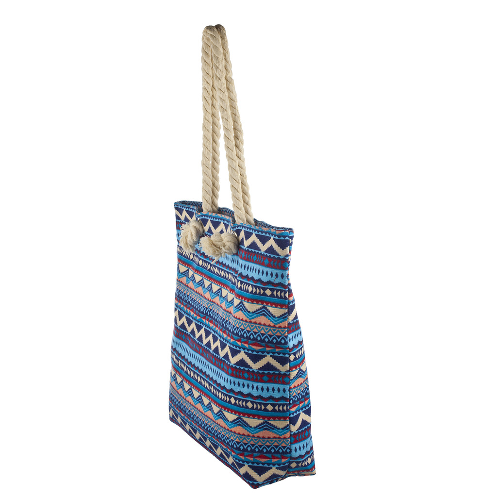 Lux Accessories Womens Zip Up Beach Bag Blue Aztec - Phone ...