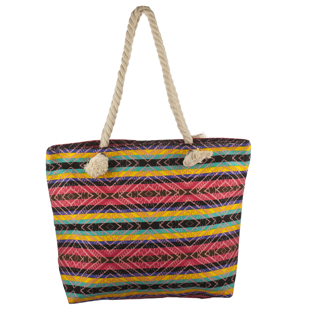 Lux Accessories Womens Zip Up Beach Bag Bright Aztec - Phone ...
