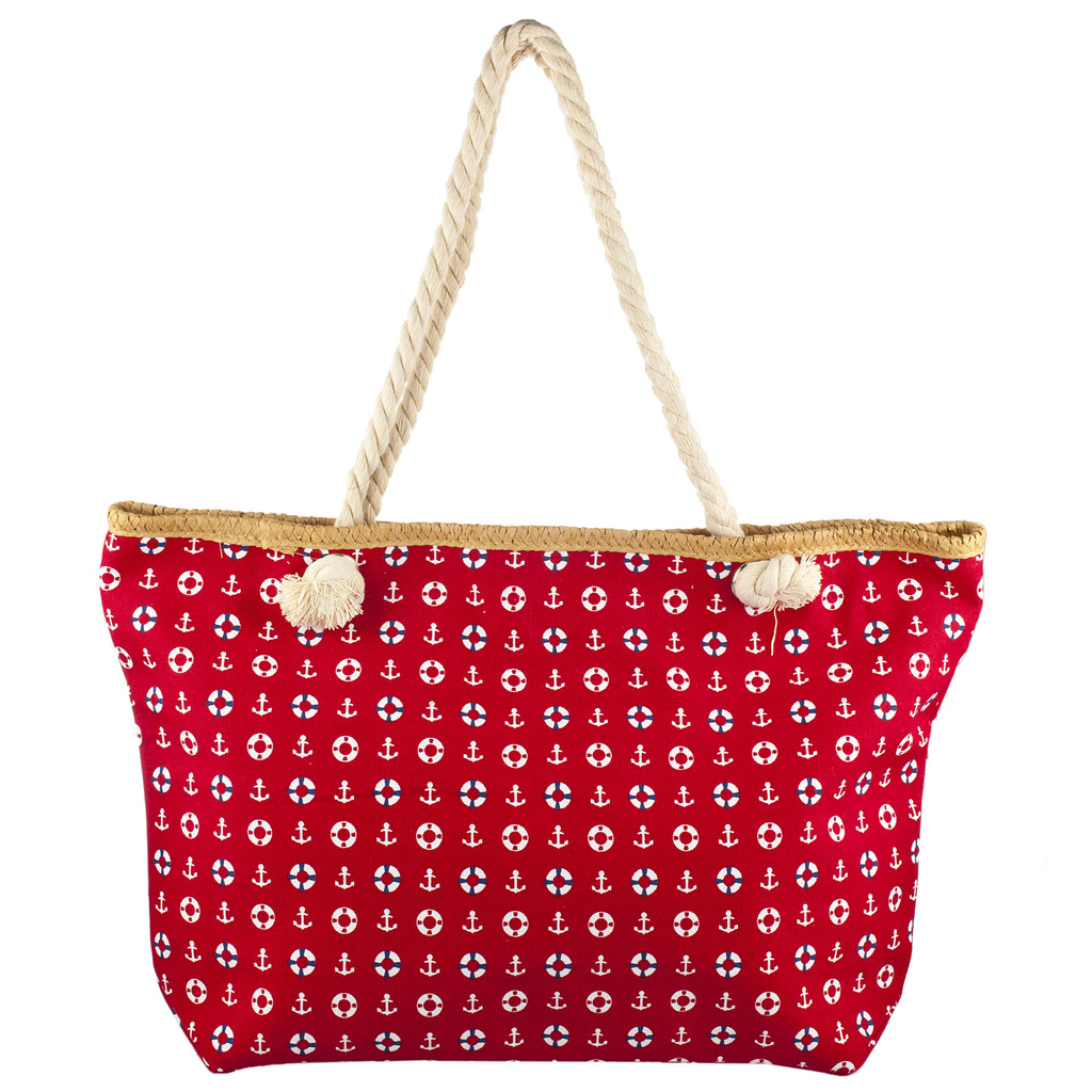 Accessories Womens Zip Up Beach Bag Red Anchor